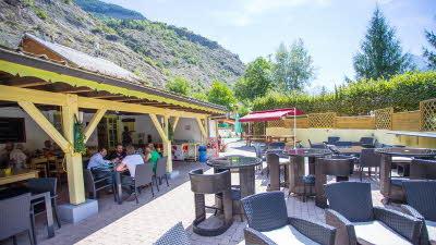 A La Rencontre du Soleil, M19, Rhone-Alpes, France, Overseas, 2021, restaurant, cafe, table, chairs, people, trees