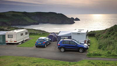 Trewethett Farm Caravan Club Site overlooking Bossiney Cove in Tintagel