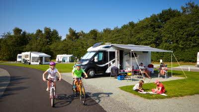 Kids riding bikes at Scarborough West Ayton Club campsite