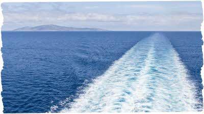 Ferry cruising on open water