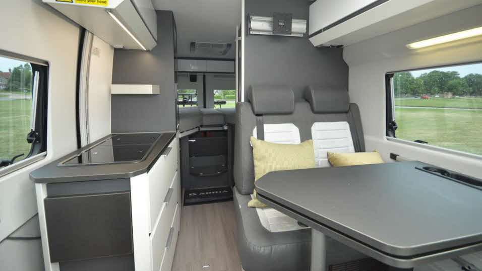 Adria Twin Supreme 640SLB grey and white interior