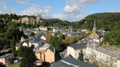 A view from high of the town of Larochette in Luxembourg, showing the church and other historic buildings