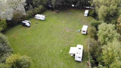 Lashlake Barn, OX9 3AU, Thame, Oxfordshire, CL owner, 2020, aerial view, pitch, caravan, trees, car
