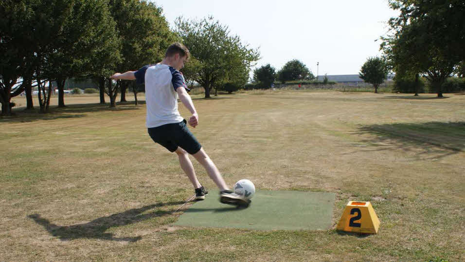 Teeing off at footgolf