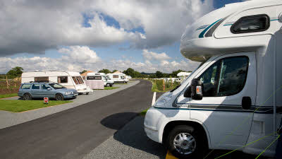 Motorhomes and cars at Barnard Castle campsite