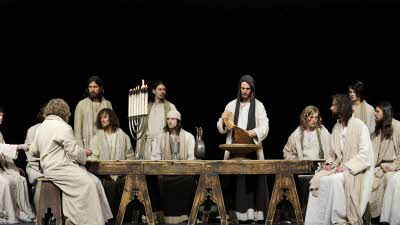 Photo from the last supper scene in the Oberammergau, Passion Play
