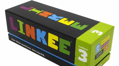 Colourful box containing the Linkee board game