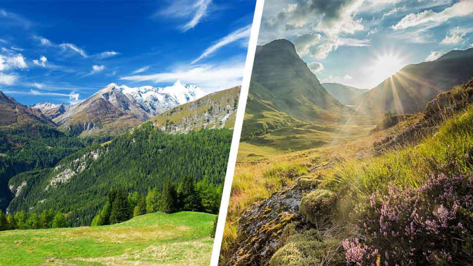 austrian alps and scottish highlands