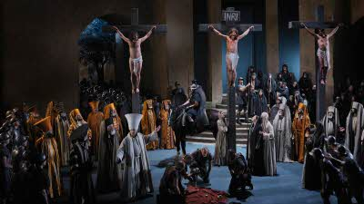 Photo from the Crucifixion scene in the Oberammergau, Passion Play