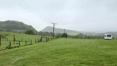 Penygraig Farm, SY23 4QA, Aberystwyth, Ceredigion, Wales, CL owner, 2021, pitch, field, grass, caravan