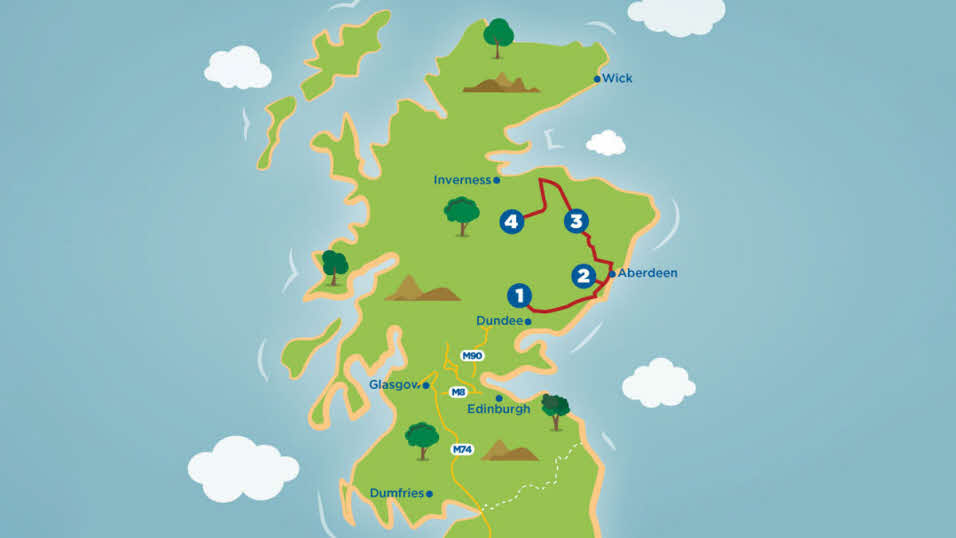 Scotland Golfer's Dream tour route map