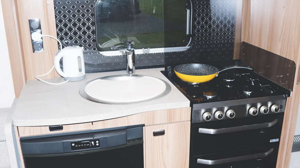 Sink, hob, kettle and microwave
