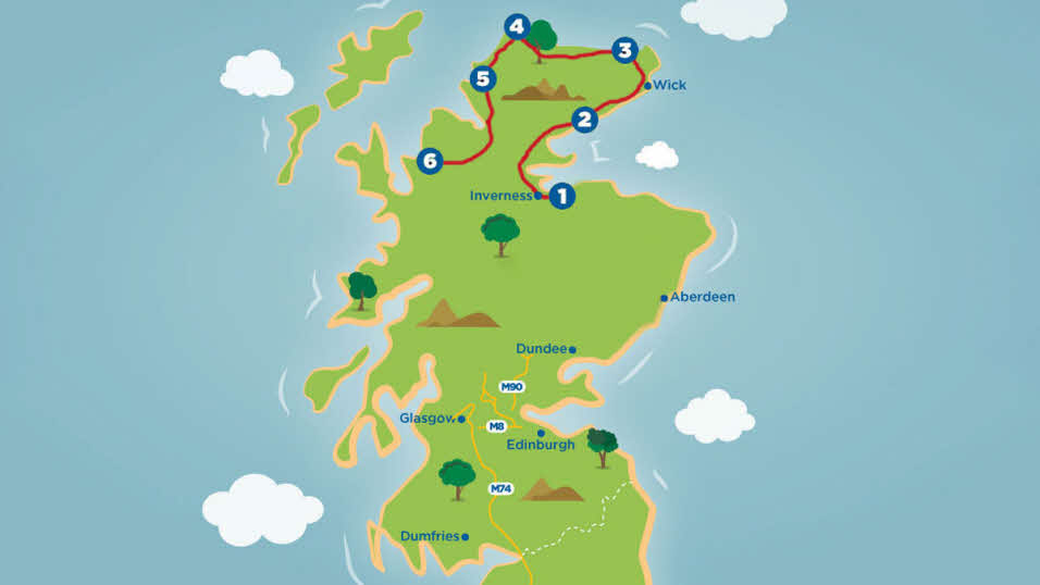 North Coast 500 Scottish Tour Route Map