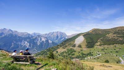 A La Rencontre du Soleil, M19, Rhone-Alpes, France, Overseas, 2021, mountain, bench, people, views, trees