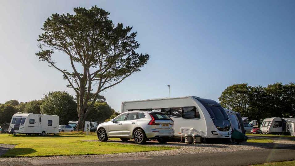 Caravans parked at Merrose Farm Caravan and Motorhome Club Site
